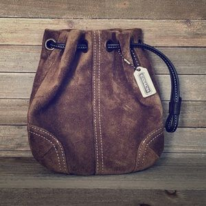 COACH Suede Drawstring Wristlet - Brown